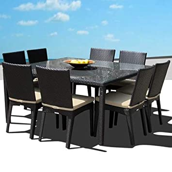 Outdoor Patio Wicker Furniture New All Weather Resin 9-Piece Dining Table Chair Set