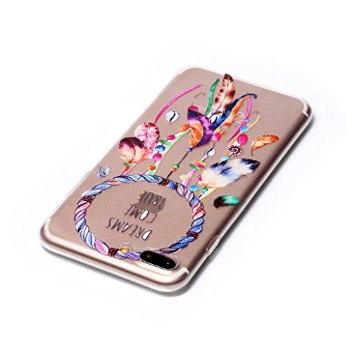 "iPhone 7 Plus Hülle , Leiai Mode Campanula Transparent TPU Weich Schwarz Tasche Schutzhülle Silikon Handyhülle Stoßdämpfende Schale Case Shell für Apple iPhone 7 Plus 4.7 Plus"""