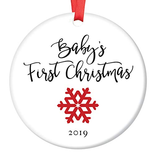 """Baby's First Christmas Ornament 2019 Newborn Boy Girl Child Cute Red Snowflake Ceramic Collectible 1st Holiday Infant Son Daughter 3"""" Flat Porcelain Keepsake with Red Ribbon & Free Gift Box OR00024"""