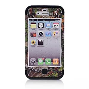 GJY 3 in 1 Tree Pattern Brown CAMO Phone Protector Case for iPhone4/4S , Purple