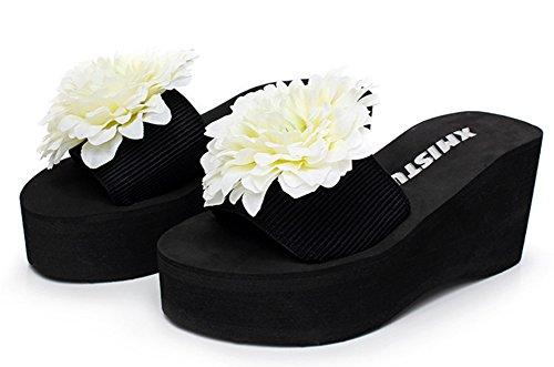 Mignon Chaussure Femme Mules Plateau Easemax avec Blanc Compensée Fleurs 751wxnCqE