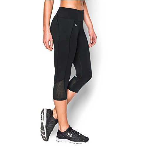 Under Armour Women's Fly-By Run Capri, Black/Black, Large