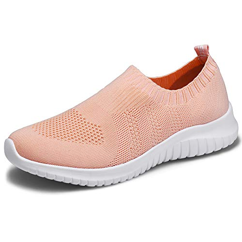 TIOSEBON Women's Walking Shoes Lightweight Mesh Slip-on- Breathable Running Sneakers 9 US Shell Pink