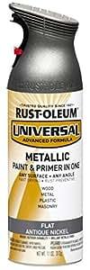 Rust-Oleum 271474 Universal All Surface Spray Paint, 11 oz, Flat Metallic Antique Nickel