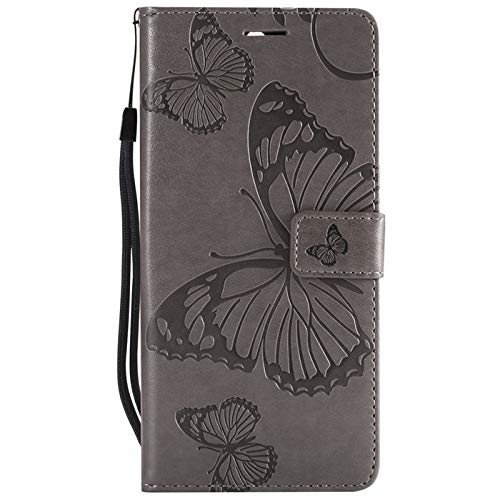 Find box Moto Z3 Play Case, [Butterfly Embossing] [PU Leather] Slim Folio Wallet Purse Protective Magnetic-Closer Protective Case Cover for Motorola Moto Z3 Play Grey