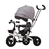 Xing Hua Shop Stroller Toys Children's Bicycle Folding Children's Tricycle Home 1-3 Years Old Children's Trolley Bicycle Walker with Awning (Color : Gray, Size : 7850107cm)