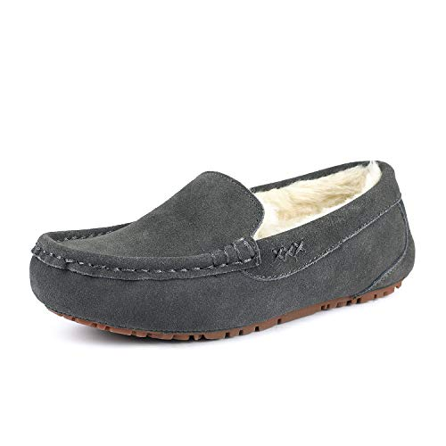 DREAM PAIRS Women's Auzy-01 Grey Faux Fur Slippers Loafers Shoes Size 5 B(M) US