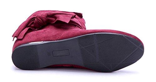 Schuhtempel24 Damen Schuhe Keilstiefeletten Stiefel Stiefeletten Boots Keilabsatz Zierschleife 4 cm Rot