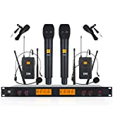 XTUGA A400 Metal receiver 4-Channel UHF Wireless Microphone System with 2 Bodypack