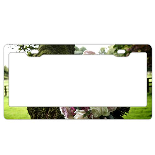 Zogpemsy Personalized License Plate Frame Rose Tea Tree Flower Tree Moss License Plates - Roses Personalized Tea