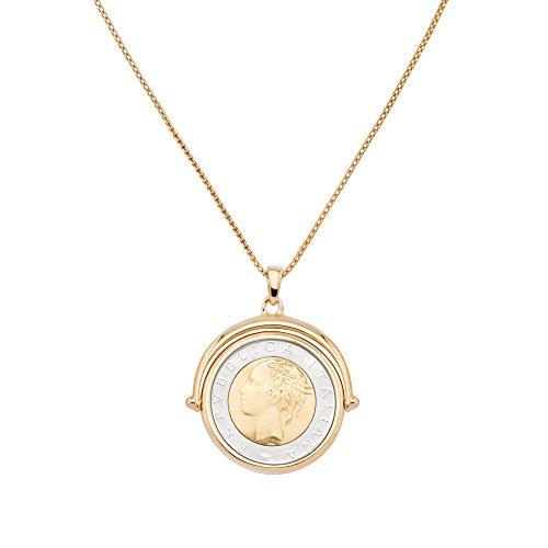 MiaBella Genuine Italian 500 Lira Coin Flip Pendant Necklace in 18K Gold over Sterling Silver. 18
