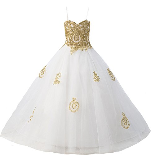 Long Gothic Gold Lace Flower Girls Formal Bridesmaid Pageant Dresses Juniors White 14 by Kivary