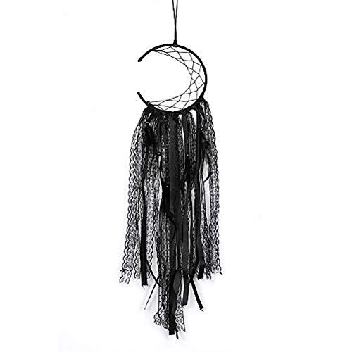 Indian Dream catcher handmade traditional blue feather dream catcher wall hanging car hanging home decoration ornament (Black Lace)
