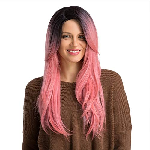 Weiweidain High Temperature Wire Black Gradient White/Brown/Pink Long Straight Hair -