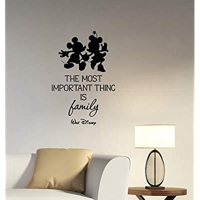 The Most Important Thing is Family Inspirational Quote Wall Decal Mouse Silhouette Vinyl Sticker Saying Art Decorations for Home Living Kids Room Bedroom Decor hq59: Baby