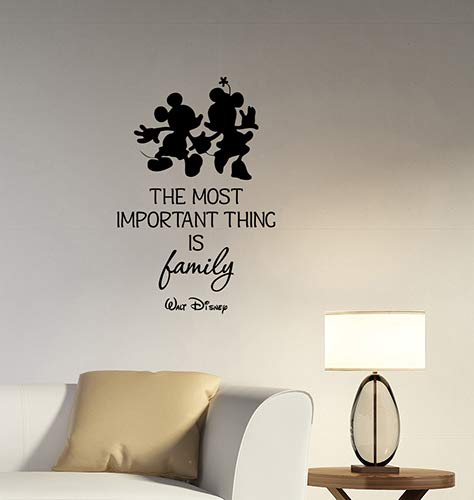 The Most Important Thing is Family Walt Disney Inspirational Quote Wall Decal Mickey Minnie Mouse Silhouette Vinyl Sticker Saying Art Decorations for Home Living Kids Room Bedroom Decor hq59
