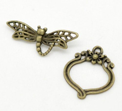 - 30 Sets Bronze Tone Bracelet Clasps Dragonfly Toggle - Findings, DIY Crafts, Jewelry Making, Charms