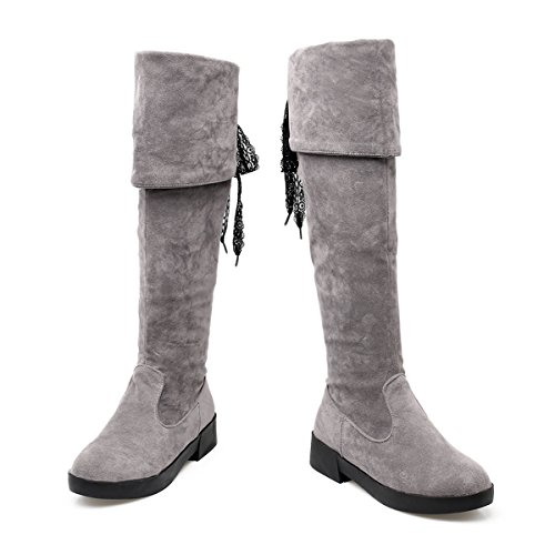 Homiki Damen Langschaft Stiefel Nubuk Round Toe Flach Overkneestiefel Spitze Schnürsenkel Reißverschluss Grau