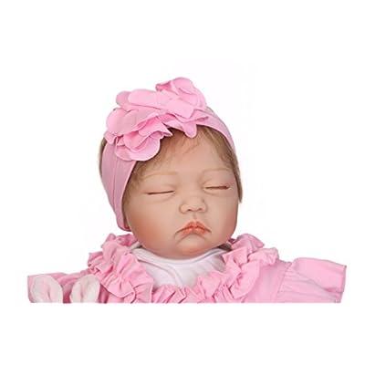 NPKDOLL Handmade Soft Simulation Silicone Reborn Baby Lifelike Doll 22inch 55cm Boy Girl Gift Doll for Children Pink Cloth Lovely Doll: Toys & Games