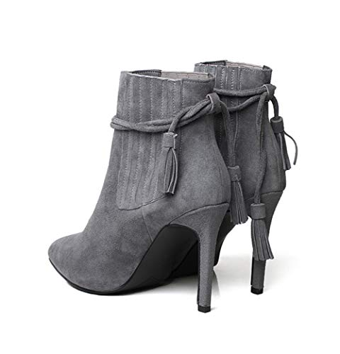 Spring Boots Women's Short Heel,Pointed Boots,Fashion Boots,Mid High D Ankle XUE Shoes,Tassel,Comfort Winter boots Shoes Keep Heel Calf Boots,Fine warm qwRxIE6