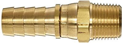 Anderson Metals Brass Compression Hose Fitting, Swivel Connector, Barb x NPT Male