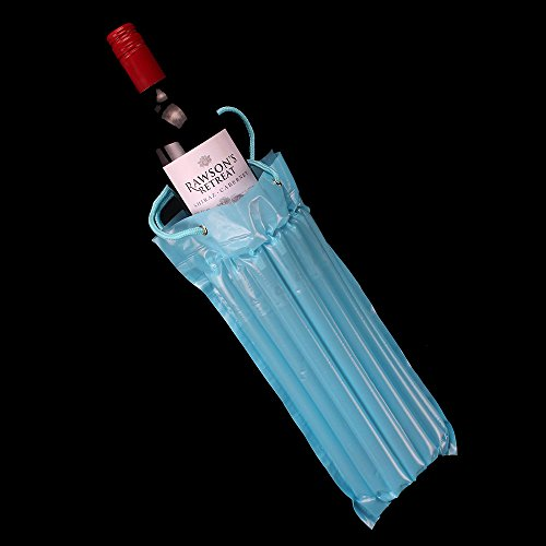 Price comparison product image Bette Column Air Inflatable Travel 750ml Wine Bottle Bag, 10-Pack with Pump, Blue