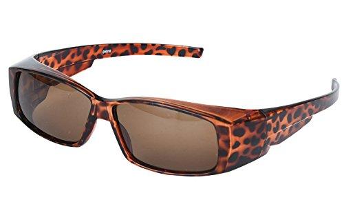Agstum Fit Over Sunglasses Prescription Rx Glasses Polarized Lens (Leopard, - Over For Sunglasses Glasses Rx