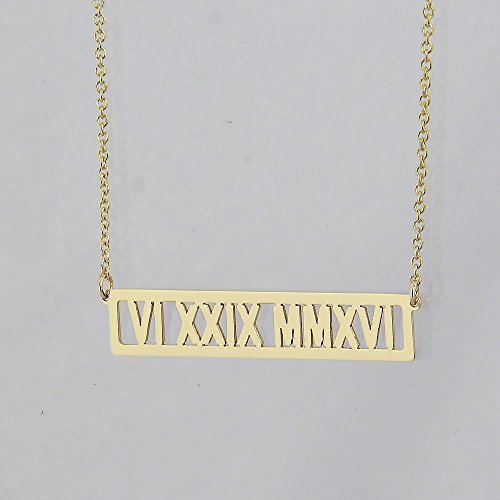Solid 14k Gold Horizontal 1 1/4 Inch Cut-Out Bar Necklace Personalized Name Roman ()