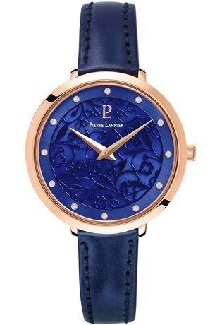 Pierre Lannier – 039l966 – Reloj Mujer – Caja Acero Rosé – Esfera Azul – Piel
