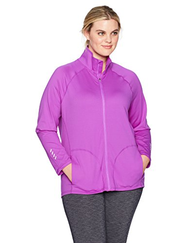 Just My Size Women's Plus Size Active Full-Zip Mock Neck Jacket, Purple Reef, ()