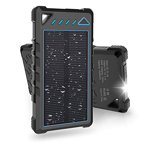 Hobest Solar Charger 10000mAh,Waterproof Outdoor Solar Power Bank with LED Flashlight,Dual USB Portable Charger Solar for Smartphones,GoPro Camera,GPS and Emergency Travel (Light Blue)