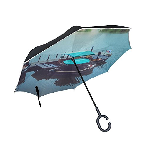 RH Studio Inverted Umbrella Boat Dock Pier Lake Large Double Layer Outdoor Rain Sun Car Reversible Umbrella by RH Studio