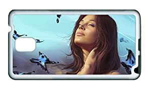 Sale Samsung N9000 cases DIY Fantasy girl and blue butterfly TPU White for Samsung Note 3/Samsung N9000