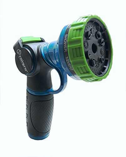 Raigro Lawn and Garden Hose Nozzle – Heavy-Duty, Pull-Trigger Spray Nozzle – with Thumb Control and 10 Spray Patterns! – Fully Covered Metal Body.