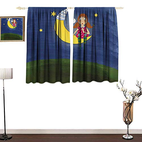 Jinguizi KidsPolyester curtainCartoon Cute Girl with Pigtails on Moon Stars Motivational Quote Artwork Doodle StyleChildren's Bedroom Curtain W84 xL72 Multicolor