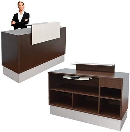 Eyepower Mostrador de recepción, marrón, mesa cómoda estantes ...