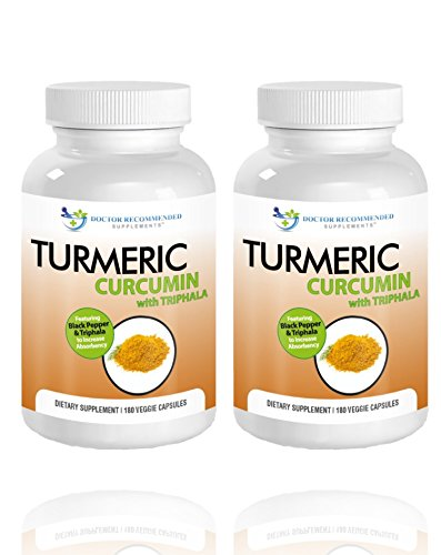 Turmeric Curcumin-2250mg/d-180 Veggie Caps-95% Curcuminoids with Black Pepper Extract (Piperine) – 750mg capsules – 100% ORGANIC Turmeric – Most powerful Turmeric Supplement – with Triphala -(2 Pack)