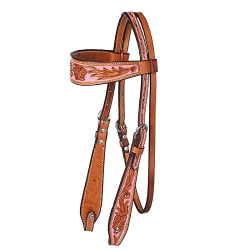 NRS Tooled Browband Headstall w / Painted背景ローズ   B06XGBSCFG