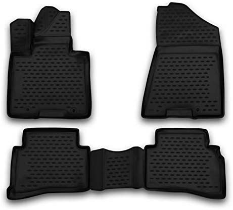 Complete Set Custom Fit Liner Auto Accessories | All Weather Performance 3D Molded Black Rubber Car Floor Mat | FitsHyundai Tucson 2016-2018 | Thickness 0.084 inch /2,150 mm