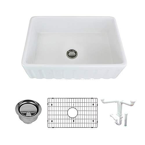 Transolid K-FUSF302010 Logan Fireclay Undermount Reversible Fluted/Plain Super Single Bowl Farmhouse Kitchen Sink Kit, 29.8-in L x 19.7-in W x 9.9-in H, ()
