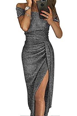 QUEENIE VISCONTI Women Off The Shoulder Party Dresses -Short Sleeve Metallic Slit Sequined Gowns Evening Dress