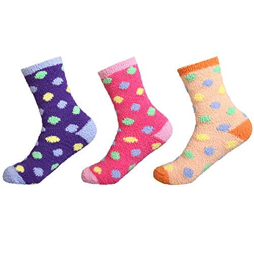 Fuzzy Dot Socks (IMOZY Women's Winter Crew Socks- Colorful Polka Dots Cozy Soft Fuzzy Plush Socks Pack for Big Girls and Women- 3 Pairs in Purple Red and Orange)