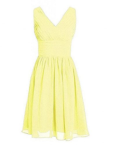 Dress Short BOwith Yellow Party Straps Dress Women's Chiffon Bridesmaid P6AAUBqw