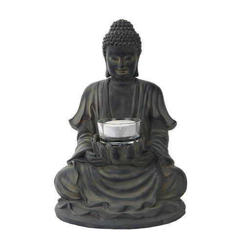 8.5 Inch Resin Meditating Buddha with Lotus Candle Holder Figurine