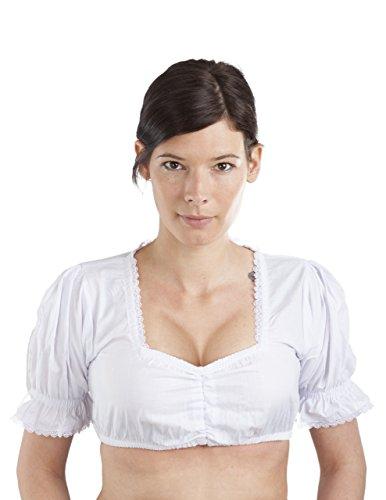 Dirndlbluse weiss Damen Dirndl Bluse - Trachtenbluse Viva weiß (34, Weiss)