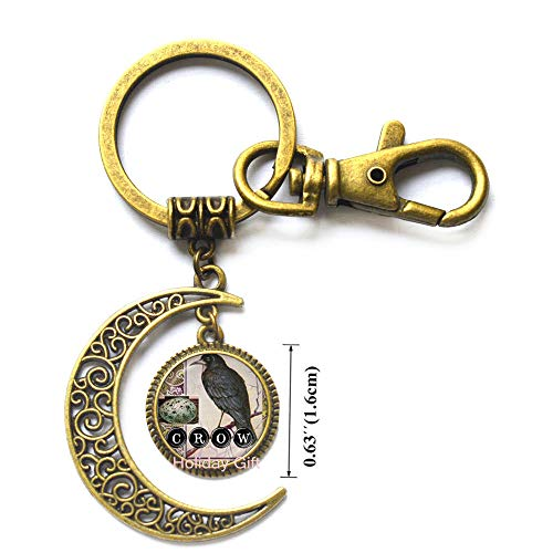Crow Moon Keychain Bird Key Ring Black Raven Jewelry Glass Dome Key Ring Animal Neckless Gifts for Lover Gothic Men Jewellery,H1115 ()