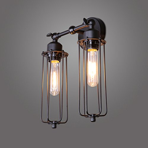 Lightess Wall Sconce Light Vintage Industrial Mini Cage Black Lamp Lighting Fixture with 2 Lights - - Amazon.com