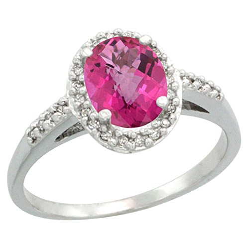 Sterling Silver Diamond Natural Pink Sapphire Ring Oval 8x6 mm, size 5 (Natural Pink Sapphire Ring)
