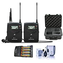Sennheiser EW 112P G4-A1 Camera Lavalier Set, Bodypack Transmitter, ME 2 Lav Omni Mic, A1: 470 516 MHz - Bundle with 4 AA NiMH Batteries, Charger, SKB iSeries Waterproof Case, Pro Optic Cleaning Kit
