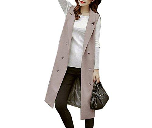 Caseminsto Black Long Vest Women 2017 Fashion Elegant Office Suits Grey M by Caseminsto (Image #5)